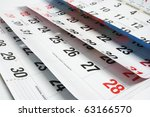 close up of calendar pages | Shutterstock . vector #63166570