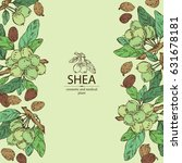 background with shea nut.... | Shutterstock .eps vector #631678181