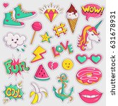 cute and trendy patches.... | Shutterstock .eps vector #631678931