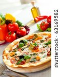 pizza with mozzarella cheese ... | Shutterstock . vector #63169582