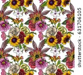 various flowers   roses  dahlia ... | Shutterstock . vector #631706105