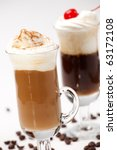 two glasses of tasty coffee... | Shutterstock . vector #63172108