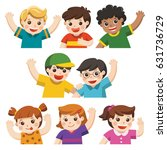 set of best friends happy... | Shutterstock .eps vector #631736729