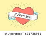old ribbon with message i love... | Shutterstock . vector #631736951