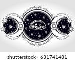hand drawn all seeing eye is on ... | Shutterstock .eps vector #631741481