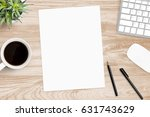 blank a4 paper is in the middle ... | Shutterstock . vector #631743629