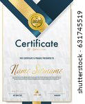 certificate template luxury and ... | Shutterstock .eps vector #631745519