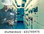 double exposure of  engineer or ... | Shutterstock . vector #631745975