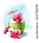 watercolor cocktail drink in... | Shutterstock . vector #631756259