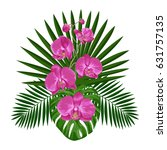 tropical bouquet with orchids... | Shutterstock .eps vector #631757135