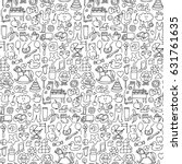 seamless pattern with hand... | Shutterstock .eps vector #631761635