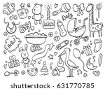 set of hand drawn baby and... | Shutterstock .eps vector #631770785