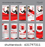 collection of red roll up... | Shutterstock .eps vector #631797311