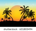 card with realistic palm trees... | Shutterstock .eps vector #631803494