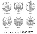 main europe cities icons... | Shutterstock .eps vector #631809275