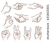hand drawing sketch man hands... | Shutterstock .eps vector #631810301
