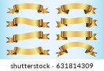 set of golden ribbons on blue... | Shutterstock .eps vector #631814309
