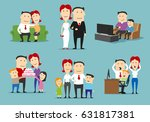 family in different life stages ... | Shutterstock .eps vector #631817381