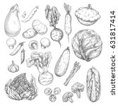 vegetable and mushroom sketches.... | Shutterstock .eps vector #631817414