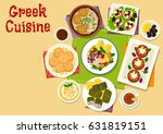 greek cuisine healthy dishes... | Shutterstock .eps vector #631819151