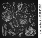 vegetables sketches on... | Shutterstock .eps vector #631819235