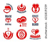 blood donation icon set. red... | Shutterstock .eps vector #631819259