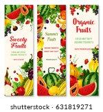 summer fruit banners. organic... | Shutterstock .eps vector #631819271