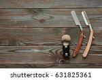 vintage barber shop tools on... | Shutterstock . vector #631825361