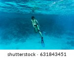 underwater photo of woman... | Shutterstock . vector #631843451