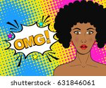 wow pop art female face. sexy... | Shutterstock .eps vector #631846061