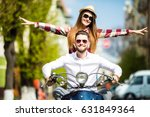 riding with fun. beautiful... | Shutterstock . vector #631849364