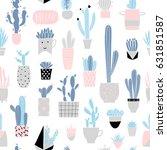 cute summer theme cactus... | Shutterstock .eps vector #631851587