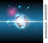 vector global and stars... | Shutterstock .eps vector #631855355