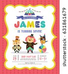 kids birthday party invitation... | Shutterstock .eps vector #631861679