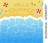 summer background with ocean or ... | Shutterstock .eps vector #631864307