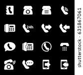 vector white telephone icons... | Shutterstock .eps vector #631867061
