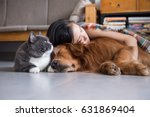 girls sleep with cats and dogs | Shutterstock . vector #631869404