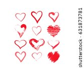 hand drawn hearts set. red... | Shutterstock .eps vector #631873781