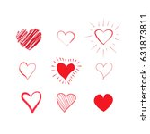 hand drawn hearts set. red... | Shutterstock .eps vector #631873811