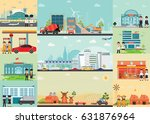 city life info graphics with... | Shutterstock .eps vector #631876964