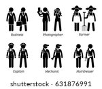 jobs  works  and occupations... | Shutterstock .eps vector #631876991