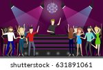 Stock vector night club dance people dancing at the dance floor and dj plays music 631891061