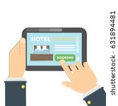 Stock vector online hotel booking hands holding tablet to book a room in the hotel 631894481