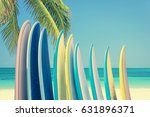 stack of colorful surfboards on ... | Shutterstock . vector #631896371
