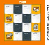 calendar for 2018 year. vector... | Shutterstock .eps vector #631897955