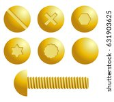 set of metal screws  bolts... | Shutterstock .eps vector #631903625