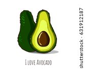 whole and cut avocado isolated... | Shutterstock .eps vector #631912187