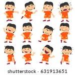cartoon character asian girl... | Shutterstock .eps vector #631913651