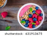 breakfast smoothie bowl  with... | Shutterstock . vector #631913675