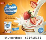 strawberry oatmeal ad  with... | Shutterstock .eps vector #631915151